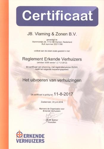 Erkende Verhuizers Certificaat Verhuisbedrijf Vlaming