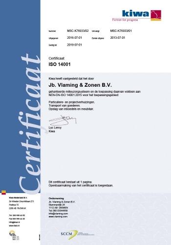 Kiwa Certificaat Verhuisbedrijf Vlaming Iso 14001