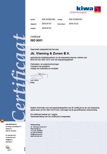 Kiwa Certificaat Verhuisbedrijf Vlaming ISO 9001
