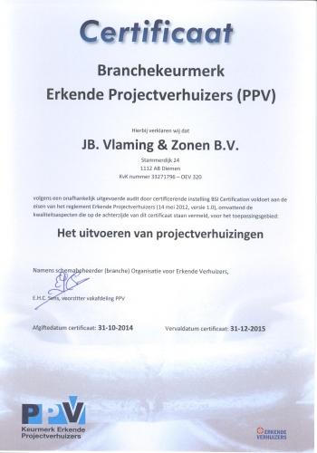 Erkende Projectverhuizers Certificaat Verhuisbedrijf Vlaming