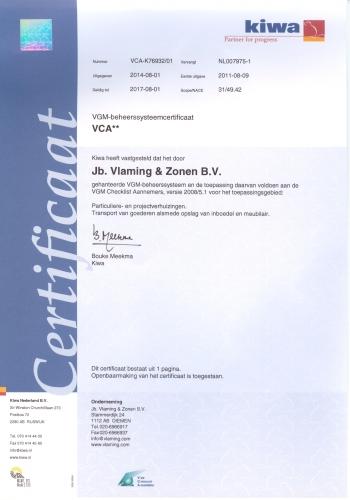 Kiwa Certificaat Verhuisbedrijf Vlaming