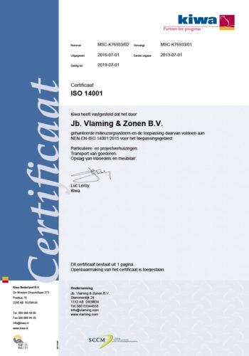 Vlaming Verhuizingen KIWA Certificering ISO14001