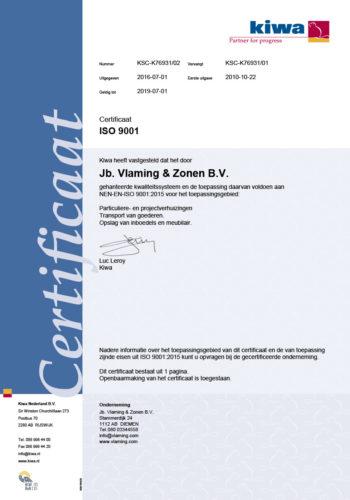 Vlaming Verhuizingen KIWA Certificering ISO9001