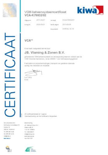 VCA Kiwa Certificaat Verhuisbedrijf Vlaming